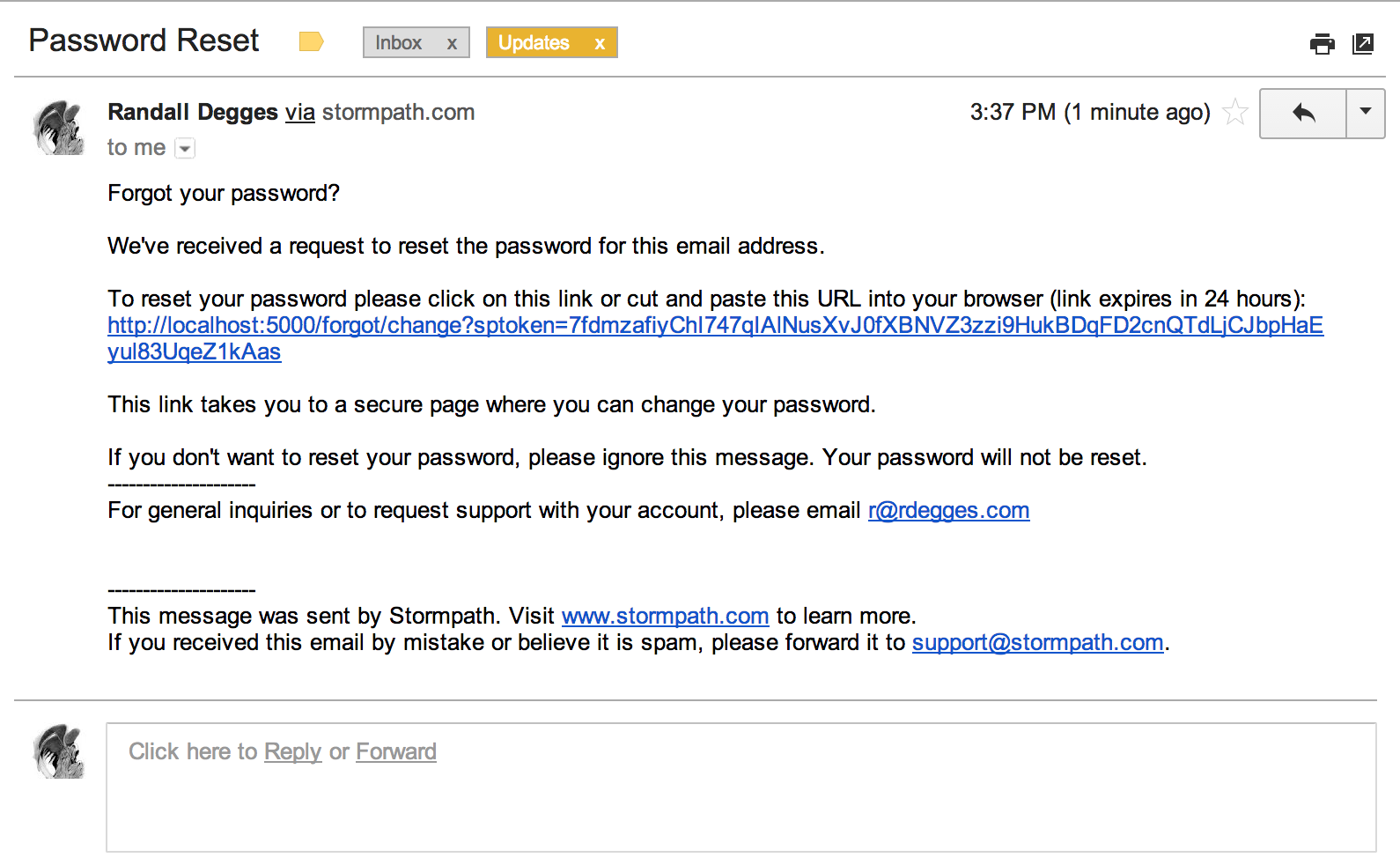 The pain of password reset in express for Password change email template