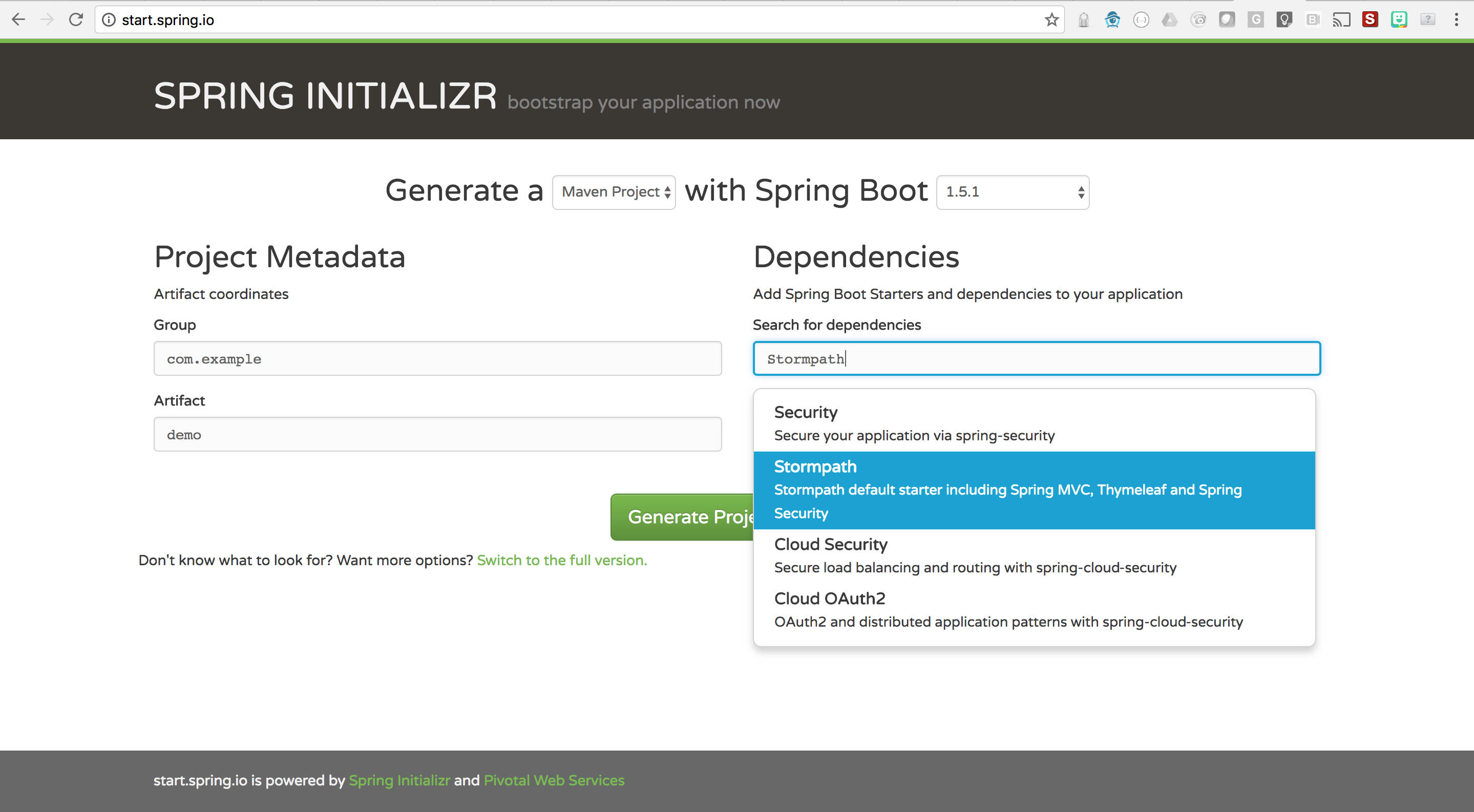 Secure your spring boot app with stormpath startspring in 5 have you ever wanted to write a spring boot application but are not sure where to start spring initializr makes it easy to get up and running in minutes by baditri Gallery