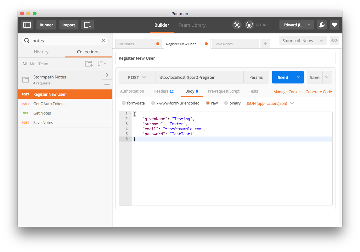 Register Account Using Postman